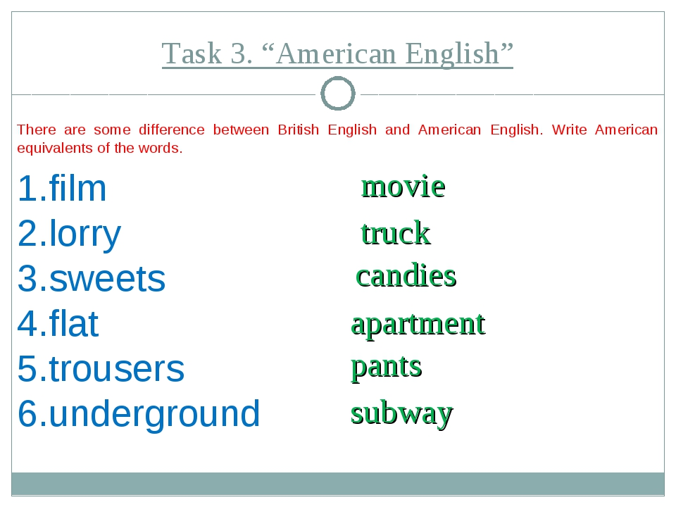 "Task 3. ""American English"" There are some difference between British English..."