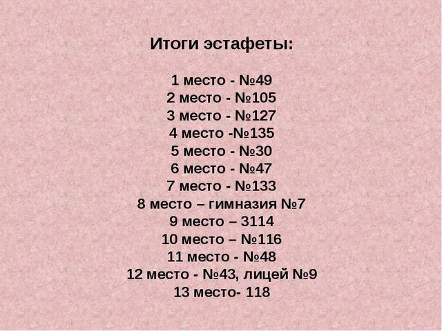 Итоги эстафеты: 1 место - №49 2 место - №105 3 место - №127 4 место -№135 5 м...