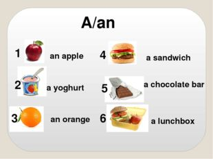 A/an an apple a yoghurt an orange a sandwich a chocolate bar a lunchbox 1 2 3