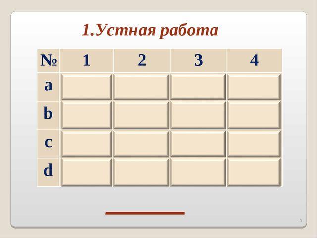 1.Устная работа Н Е П Р Е * №1234 a b c d