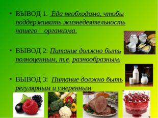 ВЫВОД 1. Еда необходима, чтобы поддерживать жизнедеятельность нашего организм