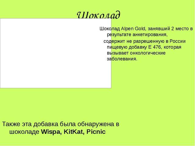 Шоколад Шоколад Alpen Gold, занявший 2 место в результате анкетирования, соде...