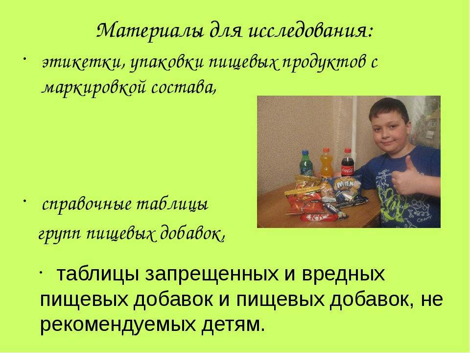 Материалы для исследования: этикетки, упаковки пищевых продуктов с маркировко...