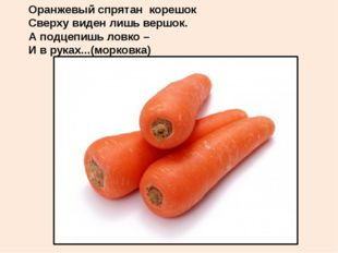 Оранжевый спрятан корешок Сверху виден лишь вершок. А подцепишь ловко – И в