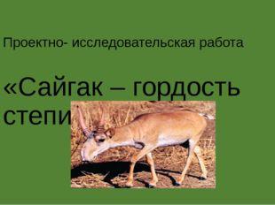 Проектно- исследовательская работа «Сайгак – гордость степи».
