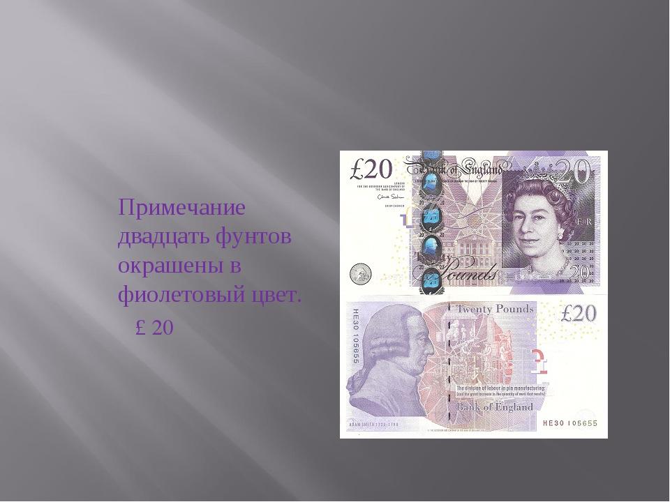 Примечание двадцать фунтов окрашены в фиолетовый цвет.  £ 20