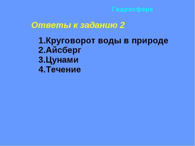 Ответы к заданию 2 1.Круговорот воды в природе 2.Айсберг 3.Цунами 4.Течение...