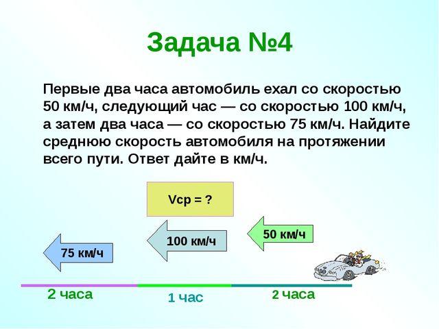 Задача №4 Первые два часа автомобиль ехал со скоростью 50 км/ч, следующий ча...