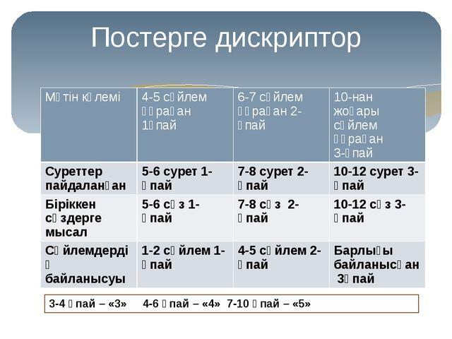Постерге дискриптор 3-4 ұпай – «3» 4-6 ұпай – «4» 7-10 ұпай – «5» Мәтін көлем...