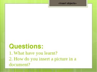 Questions: 1. What have you learnt? 2. How do you insert a picture in a docu