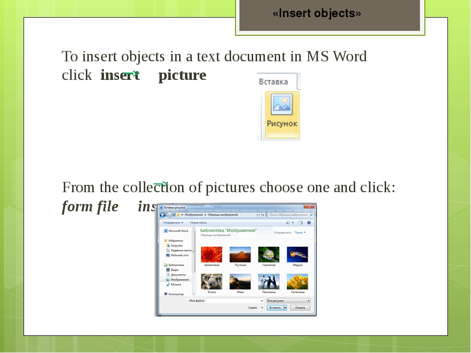 To insert objects in a text document in MS Word click insert picture From the...