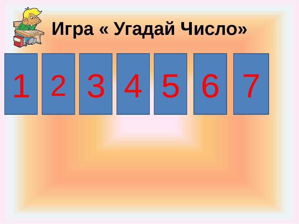Игра « Угадай Число» 1 3 4 5 6 7 2