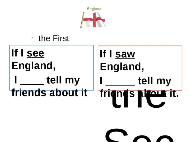 the First Conditional If I see England, I ____ tell my friends about it the S...