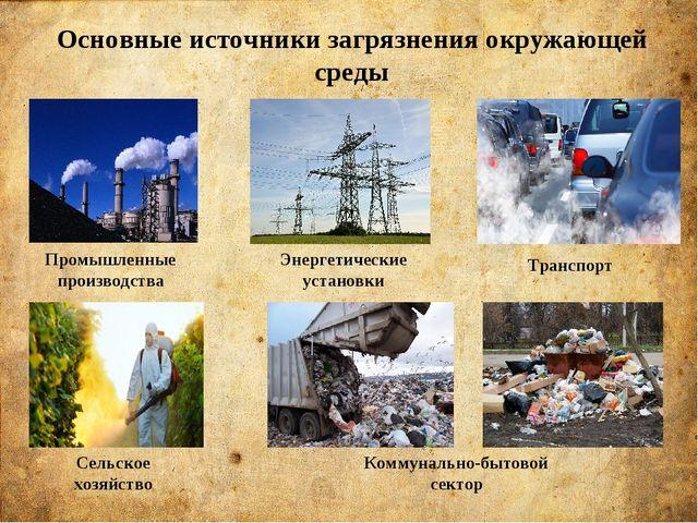 Основные источники загрязнения окружающей среды