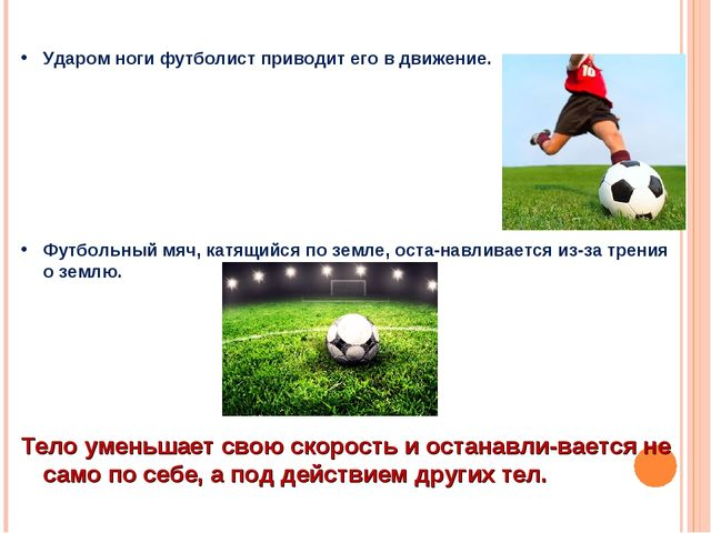 Ударом ноги футболист приводит его в движение. Футбольный мяч, катящийся по з...
