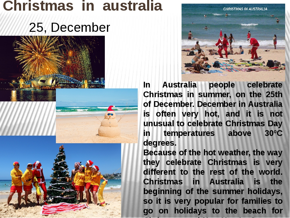 Christmas in australia 25, December In Australia people celebrate Christmas i...