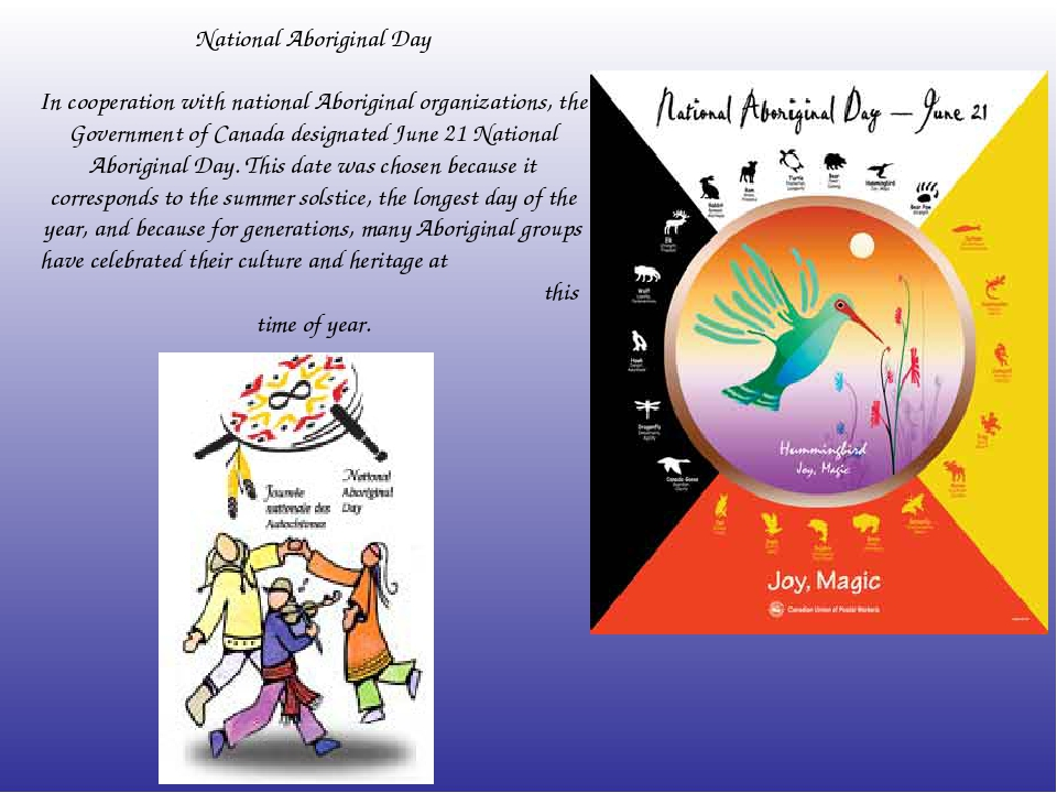 National Aboriginal Day In cooperation with national Aboriginal organizations...
