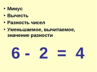 Минус Вычесть Разность чисел Уменьшаемое, вычитаемое, значение разности 6 - 2