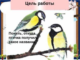 Цель работы Понять, откуда птичка получила такое название?