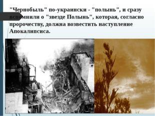 """""""Чернобыль"""" по-украински - """"полынь"""", и сразу вспомнили о """"звезде Полынь"""", кот"""
