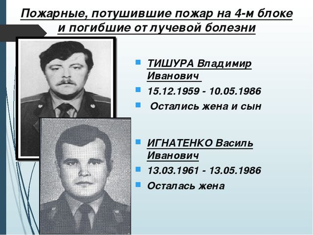 Пожарные, потушившие пожар на 4-м блоке и погибшие от лучевой болезни ТИШУРА...