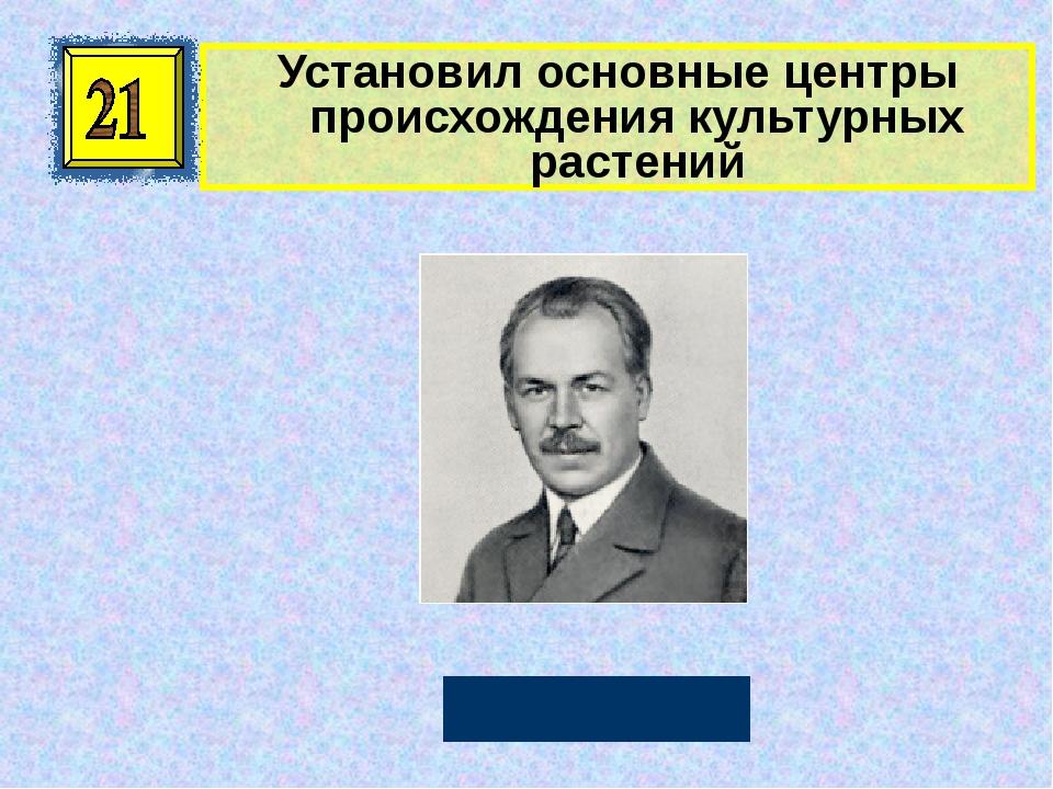 Установил основные центры происхождения культурных растений Н. И. Вавилов Авт...
