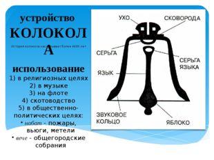устройство КОЛОКОЛА История колокола насчитывает более 4000 лет использование