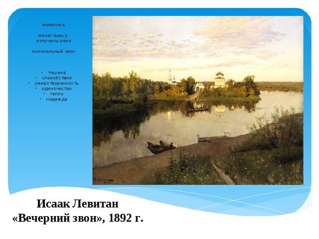 Исаак Левитан «Вечерний звон», 1892 г. живопись монастырь у излучины реки кол...