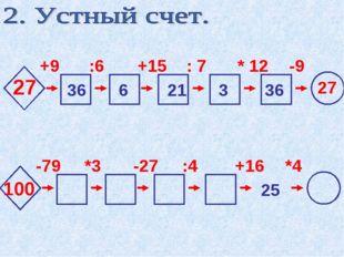 27 +9 :6 +15 : 7 * 12 -9 36 6 21 3 36 27 100 -79 *3 -27 :4 +16 *4 25