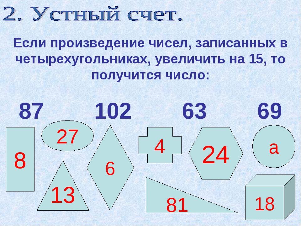 Если произведение чисел, записанных в четырехугольниках, увеличить на 15, то...