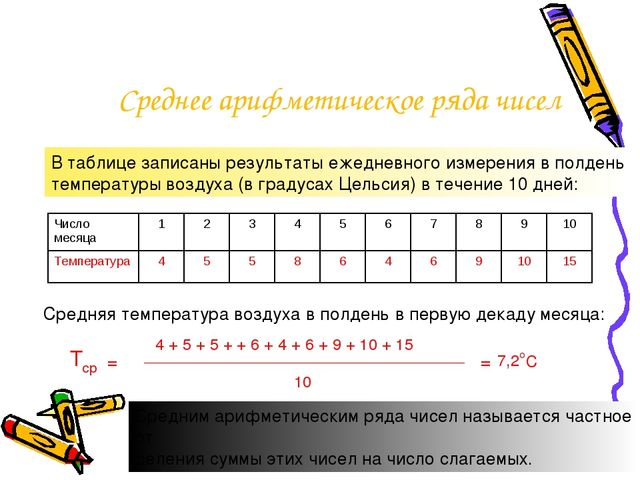 Среднее арифметическое ряда чисел В таблице записаны результаты ежедневного и...