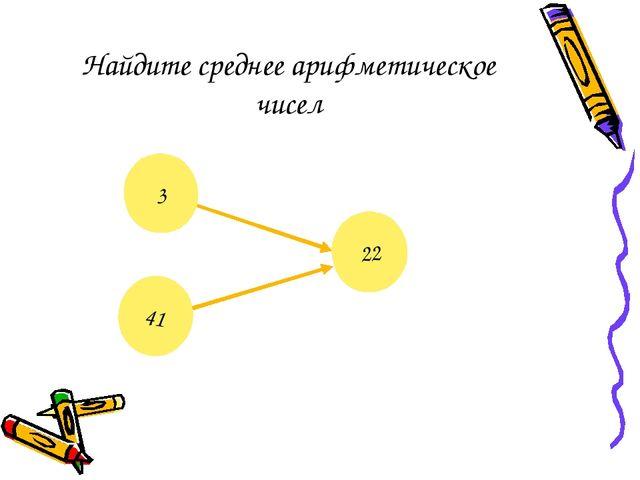 Найдите среднее арифметическое чисел ? 22 3 41