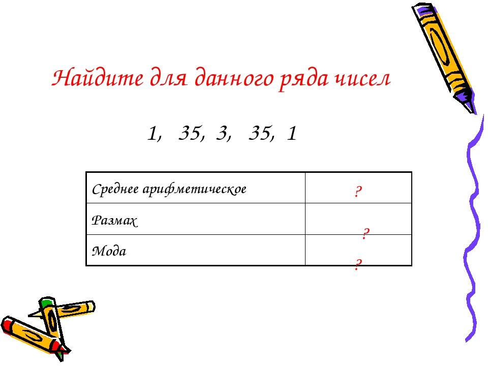 Найдите для данного ряда чисел 1, 35, 3, 35, 1 ? ? ? Среднее арифметическое1...