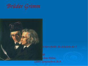Brüder Grimm die Arbeit hat erfuhlt: die Schulerin der 5 Schulerin der 5. Kla