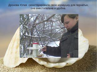 Дронова Юлия сконструировала свою кормушку для пернатых, она вместительна и у
