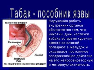 Нарушения работы внутренних органов объясняется тем, что никотин, дым, частич