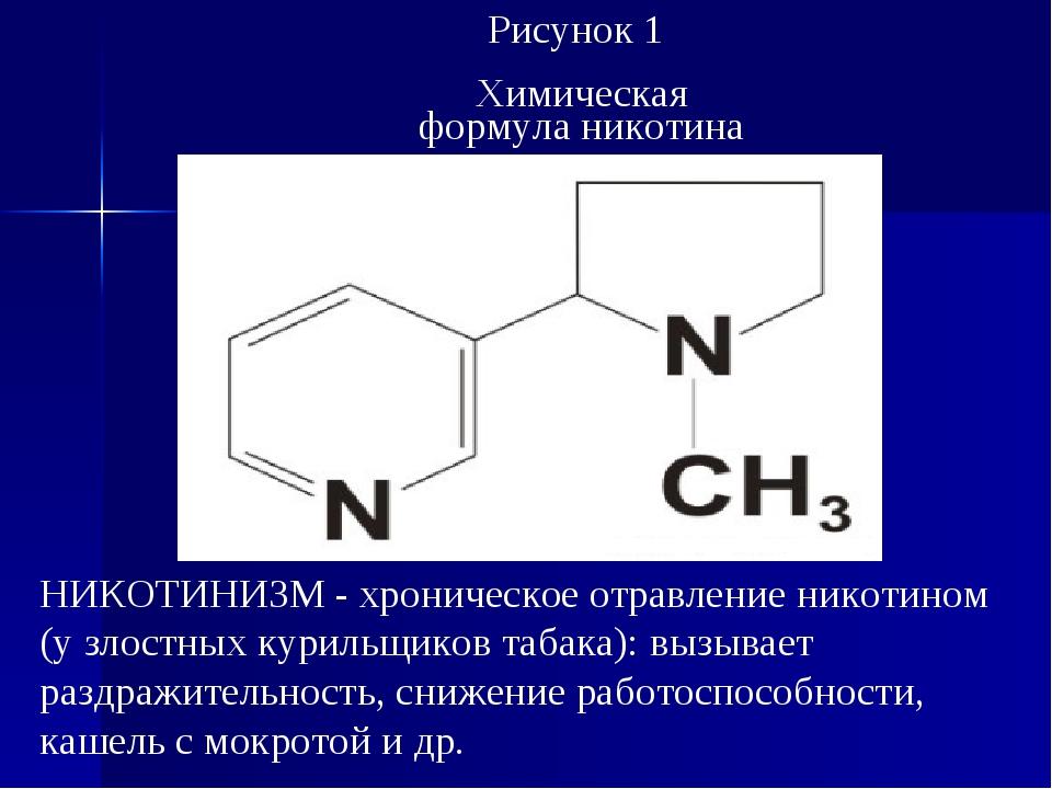 Рисунок 1 Химическая формула никотина НИКОТИНИЗМ - хроническое отравление ник...