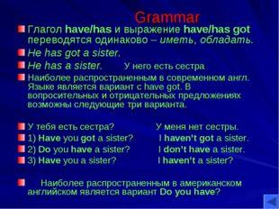 Grammar Глагол have/has и выражение have/has got переводятся одинаково – имет