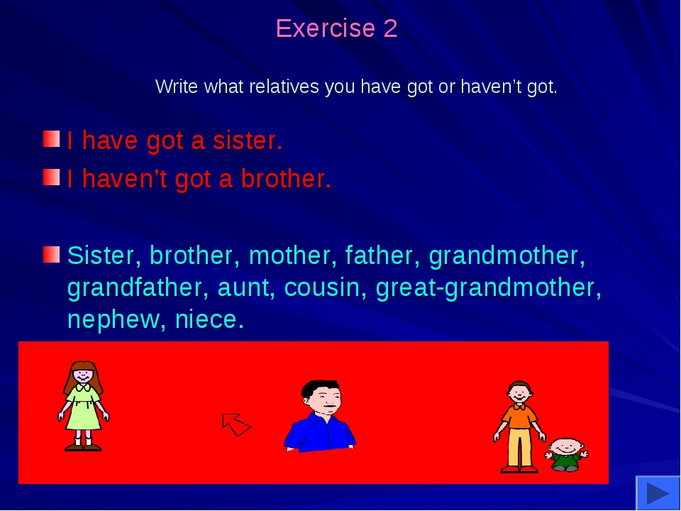 Exercise 2 Write what relatives you have got or haven't got. I have got a si...