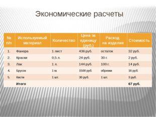 Экономические расчеты №п/п Используемый материал Количество Цена за единицу (