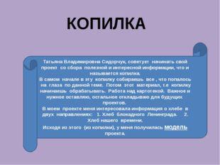 КОПИЛКА Татьяна Владимировна Сидорчук, советует начинать свой проект со сбора
