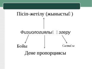 Физиологиялық өзгеру Бойы Салмағы Дене пропорциясы Пісіп-жетілу (жыныстық)