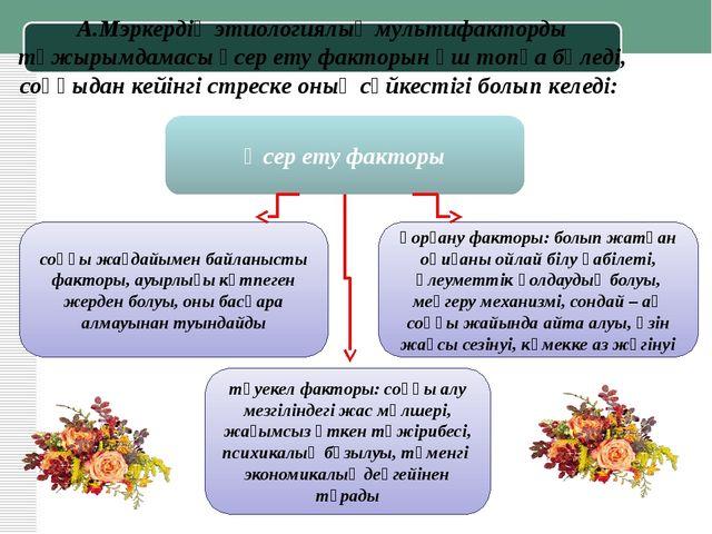 А.Мэркердің этиологиялық мультифакторды тұжырымдамасы әсер ету факторын үш то...
