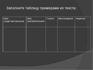 Заполните таблицу примерами из текста: Имя существитьельноеИмя прилагательн