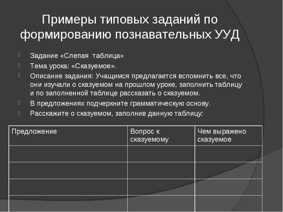 Примеры типовых заданий по формированию познавательных УУД Задание «Слепая та...