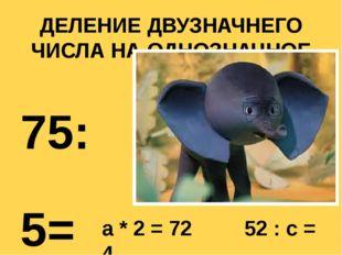 ДЕЛЕНИЕ ДВУЗНАЧНЕГО ЧИСЛА НА ОДНОЗНАЧНОЕ 75:5= 96:3= 36:2= 90:6= a * 2 = 72 5