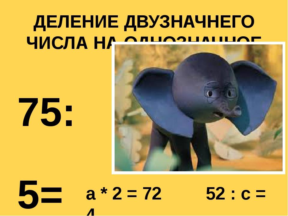 ДЕЛЕНИЕ ДВУЗНАЧНЕГО ЧИСЛА НА ОДНОЗНАЧНОЕ 75:5= 96:3= 36:2= 90:6= a * 2 = 72 5...