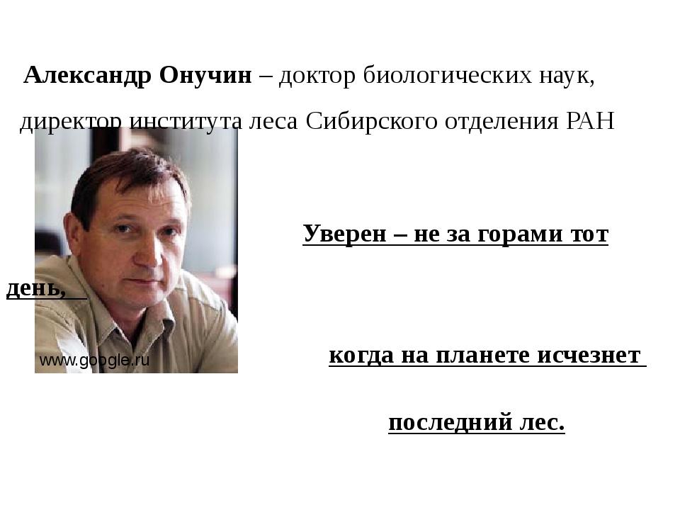 Александр Онучин – доктор биологических наук, директор института леса Сибирс...