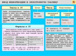  ВВОД ИНФОРМАЦИИ В ЭЛЕКТРОННУЮ ТАБЛИЦУ Тексты в ЭТ Любая последовательность