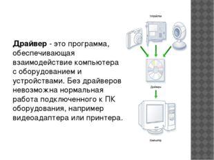 Драйвер - это программа, обеспечивающая взаимодействие компьютера с оборудов